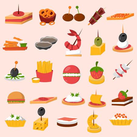 Verschiedene Fleisch, Fisch und Käse Bankett Snacks auf Bankett Platte. Schnittchen Snacks Vorspeise Käse Küche Buffet lecker. Vector Canape Snacks Vorspeise schmackhafte Vorspeise Restaurant Catering. Standard-Bild - 67510217