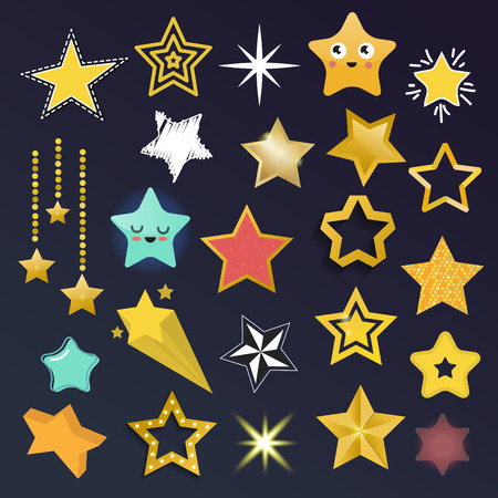 five pointed: Set of shiny star icons in different style. Pointed pentagonal gold award. Abstract design doodle night artistic symbol. Vector shape graphic yellow element. Illustration