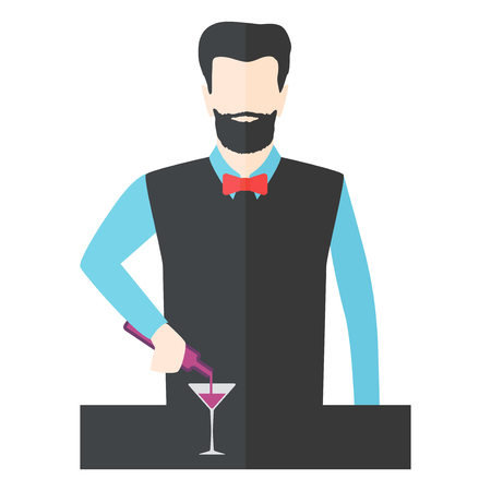 barkeeper: Bartender barman making cocktails at bar counter. Silhouette of man prepares drink vector. Professional restaurant preparation character vector illustration.