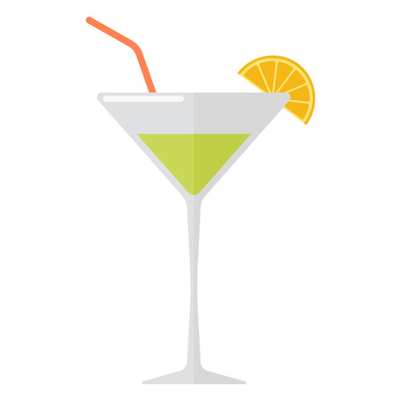 Margarita drink with lime slice isolated on white. Beverage refreshment ice tequila juice cocktail. Vector classical liquor salt garnish party cool liquid. Illustration