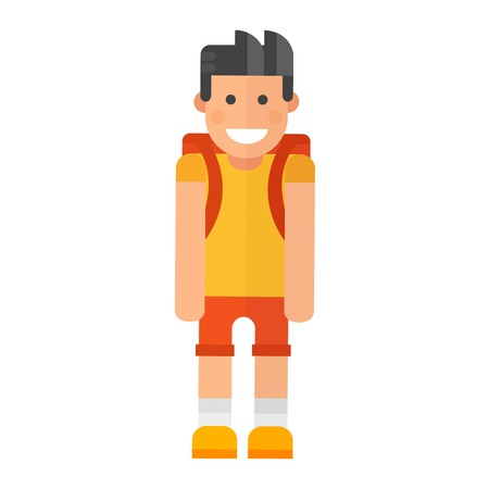 schoolkids: School kid character caucasian vector illustration. Study childhood happy primary education people. Cute boy education junior expression knowledge person.