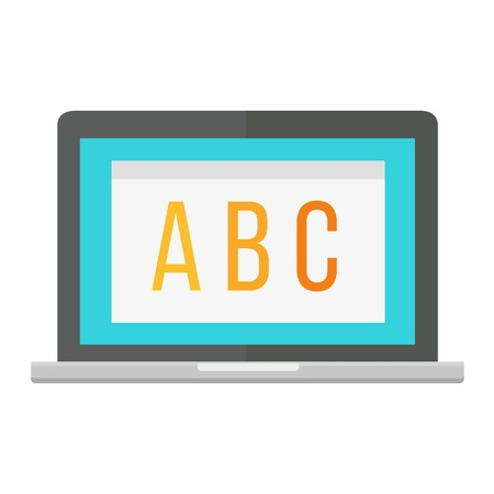 Modern laptop isolated on white background vector. Computer keyboard communication front view. Knowledge design science university screen. Academic learning symbol.