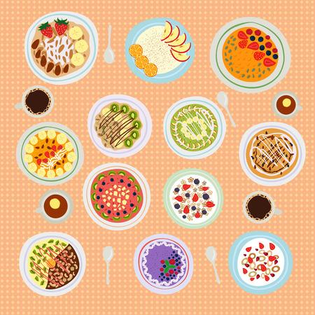breakfast bowl: Breakfast oatmeal porridge with cinnamon, cranberries and blueberries, front view. Tasty gourmet delicious vegetarian fresh eating. Health granola morning dessert. Illustration
