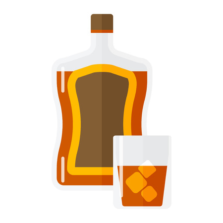 peat: Whiskey bottle and short glass brown drink isolated on white. Beverage refreshment ice tequila juice cocktail. Vector classical liquor strong garnish party cool liquid.