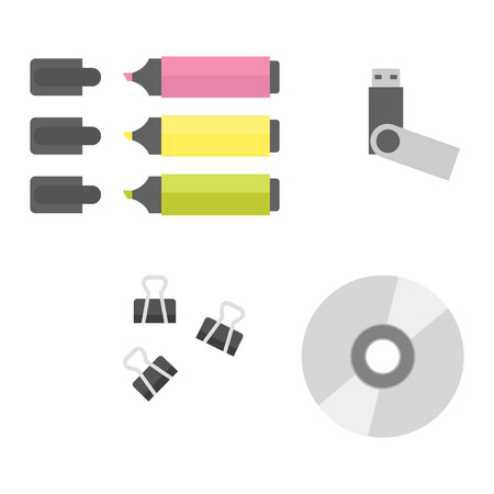 information equipment: Group of office equipment. Digital business telecommunication workplace. Mobile internet information device. Multimedia technology tool vector illustration.