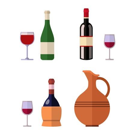 Alcohol drink bottle isolated on white background. Wine beverage celebration grape merlot. Gourmet restaurant party alcohol liquor. Vector gourmet grape splashing champagne. Stock Illustratie