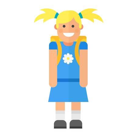 comedor escolar: Escuela de carácter niño caucásico ilustración vectorial. Estudio de la infancia feliz a la gente de educación primaria. la educación linda chica menor expresión persona conocimiento.