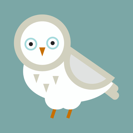 Owl white wild cartoon isolated. Flat bird character. Great horned wildlife animal nature bird vector illustration. Wing wise decoration element portrait smart face.