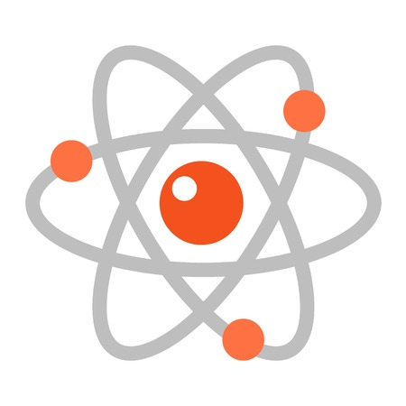 Atom icon modern minimal flat design style. Vector illustration science symbol and chemistry technology molecular power. Physics nucleus particle biotechnology sign.
