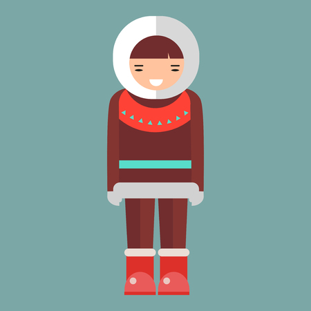 eskimo: Cartoon eskimo illustration. Cute vector happy girl. Clothes human alaska native northern people. Funny nationality traditional chukchi character.