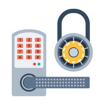 safeguard: Lock icons set and security protection. Safety password sign privacy element and access shape open. Private safeguard modern firewall equipment vector collection. Illustration