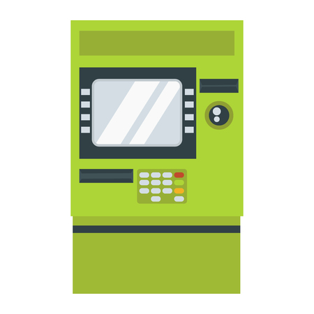 bankomat: ATM cash dispenser vector illustration isolated on white background. Wealth keypad money debt buy monitor. Business technology with display bank security.