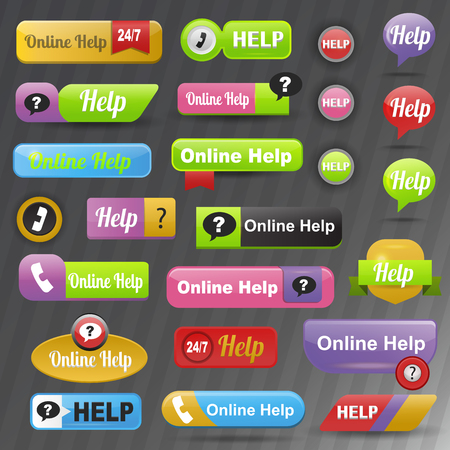 contact center: Call now or contact us buttons. Online help internet support web icon. Communication website information call computer center. Vector helpdesk answer question. Illustration