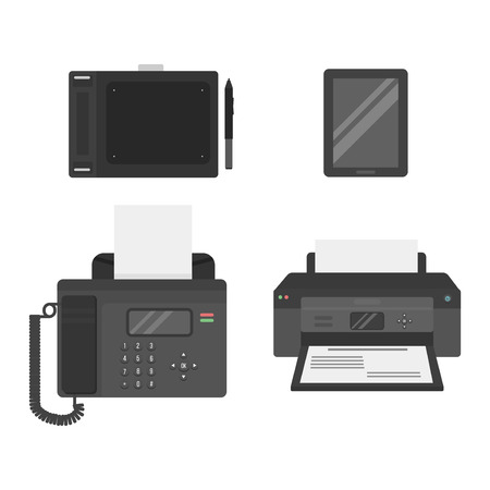 information equipment: Group computer office equipment. Digital business telecommunication workplace. Mobile internet information device. Multimedia technology tool vector illustration. Illustration