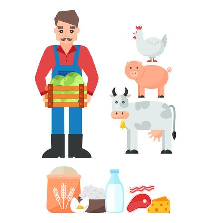 Health care organic farm template design. Vector illustration graphic web gardening design vegetarian agricultural field. Vegetable harvest countryside. Illustration