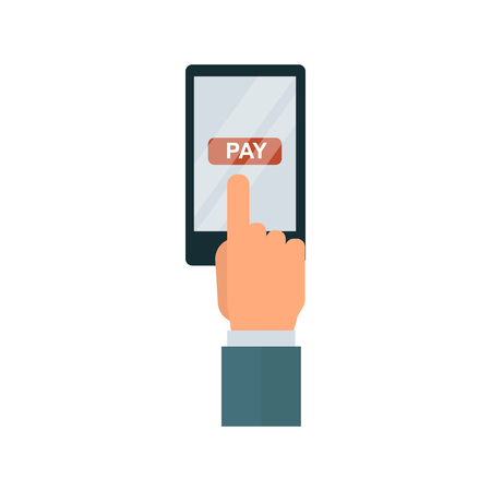 technology transaction: Financial safety concept payment acceptance isolated on white background. Bank transaction customer. Purchase technology buy concept terminal.