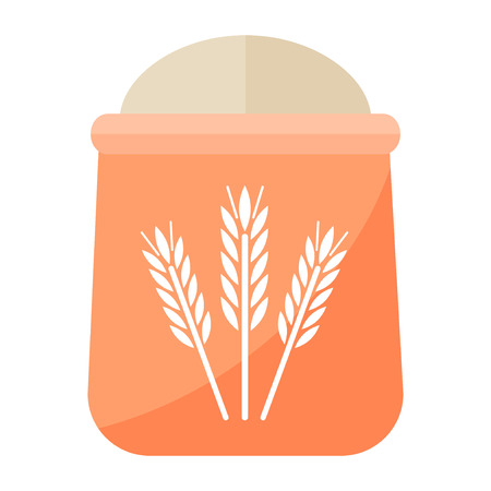 wholemeal: Burlap sack of wholemeal bread flour on white background. White bag organic grain natural ingredient. Pack agriculture cereal baking ingredient. Illustration