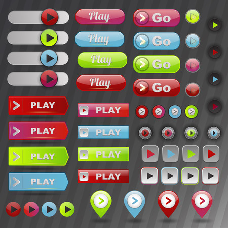 navigation panel: Play button set. Collection navigation template stop technology sign. Forward multimedia video shiny graphic. Web design player music audio panel.
