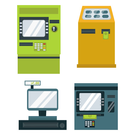 paying: Finance and money icon set payments symbols. Purchase series icons credit banking. Paying investment computer service debit transaction check.