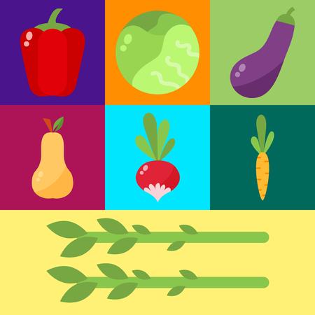 celulosa: set vector de celulosa de alimentos vegetales. Repollo, pimientos, tomates, zanahorias, celulosa gachas aislada en el fondo blanco. Concepto de alimentos saludables.