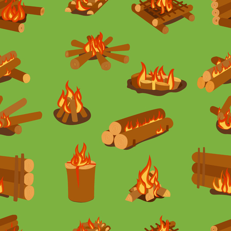 gas fireplace: Isolated illustration of campfires logs burning bonfires. Bonfires on white background. Vector bonfire isolated and wood explosion glowing bonfire isolated. Red nature burning blazing power vector. Illustration