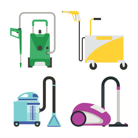 electric broom: Professional cleaning equipment isolated on white background. Vector service housework tools. Room floor hygiene product disinfect chemical washing.