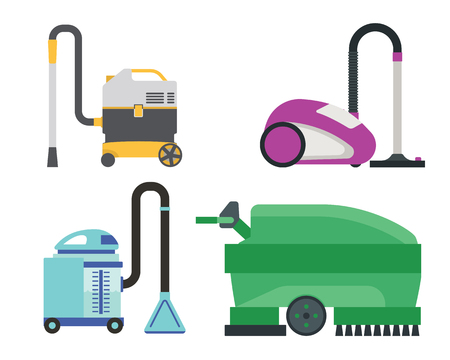 Professional cleaning equipment isolated on white background. Vector service housework tools. Room floor hygiene product disinfect chemical washing.