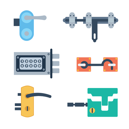 private access: Lock icons set and security protection. Safety password sign privacy element and access shape open. Private safeguard modern firewall equipment vector collection. Illustration