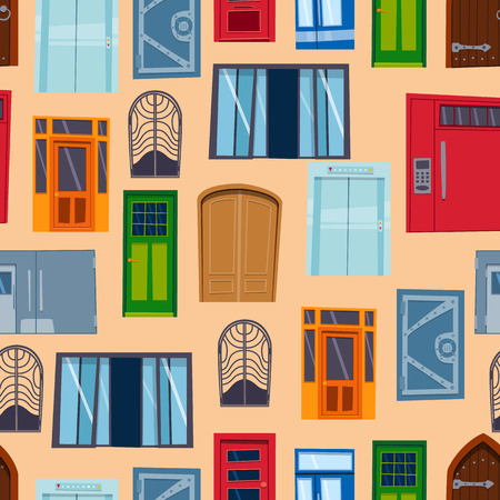 window sill: Different types house doors vector elements isolated on background elements flat vector style Illustration