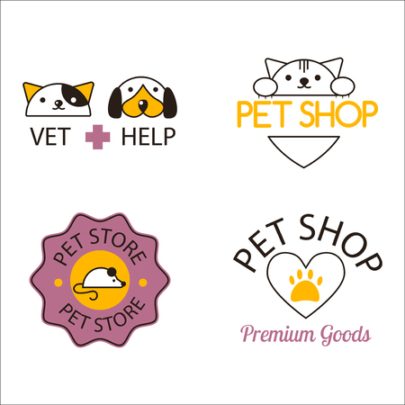 food shop: icon for pet shop or animal clinic. Veterinary design symbol isolated silhouette care label. Creative company emblem. Health hospital funny silhouette.