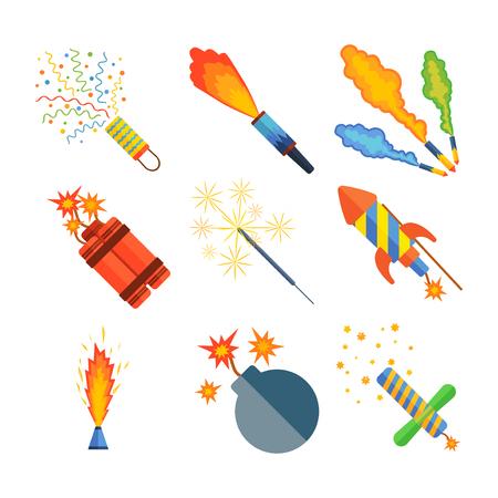 Pyrotechnische Raketen. Vektor-Illustration Feuerwerk Brunnen, römische Kerze, schöne Rakete. Stadt Jahrestag traditionellen Abend funkeln Design. Standard-Bild - 68548645