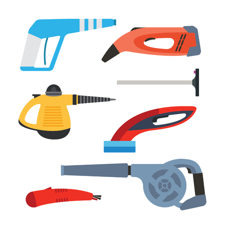 squeegee: Cleaning equipment vector set.