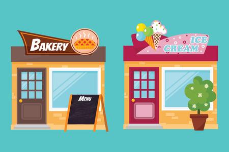 Shop facade elements vector set.