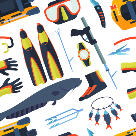 school of fish: Spearfishing background vector illustration.