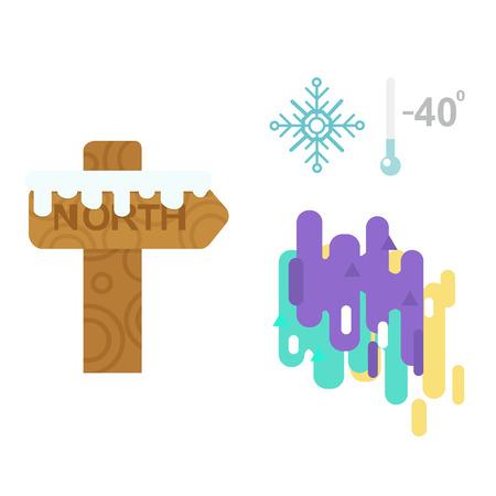Northern lights and wooden sign post vector illustration. Illustration