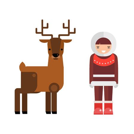 Wild deer animal and eskimo people flat vector.