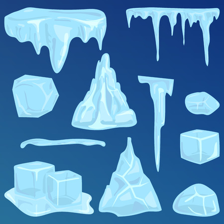 snowdrifts: Set of ice caps snowdrifts and icicles elements winter decor vector.