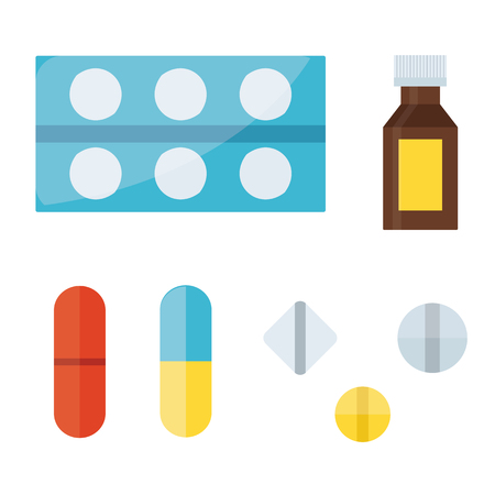 therapy group: Tablet pills vector illustration.