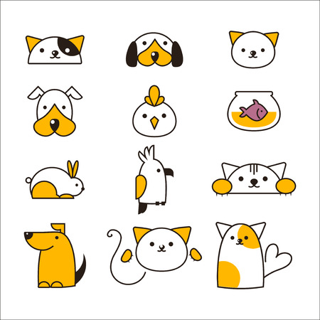 Pet shop symbols vector. Stock Illustratie