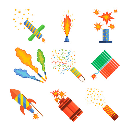 Pyrotechnics and fireworks vector.