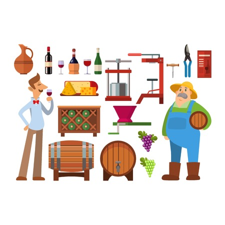 Wine production vector set. Illustration
