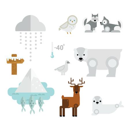Wild north arctic animals symbols vector.