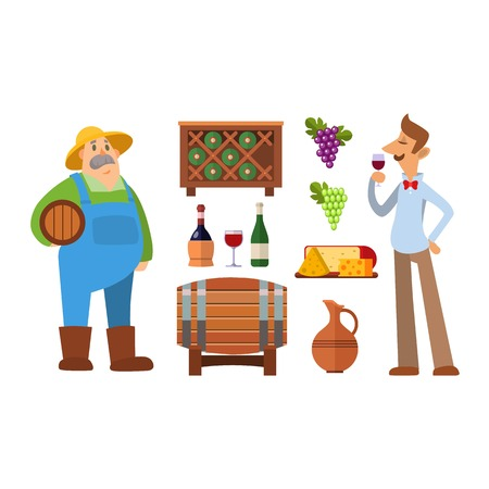 viticulture: Wine production vector set. Illustration