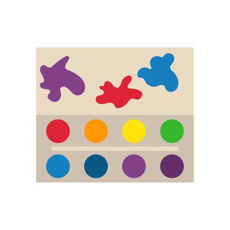 Multicolor watercolour paint box vector illustration.