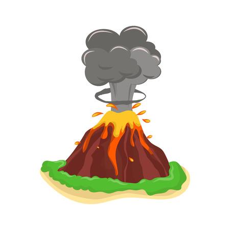 Volcano set vector illustration. Illustration