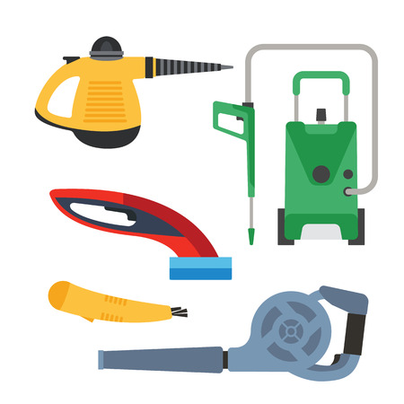 electric broom: Cleaning equipment vector set.