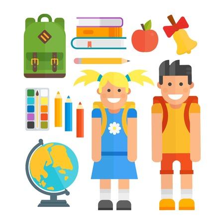 School symbols and kids vector set. Illustration
