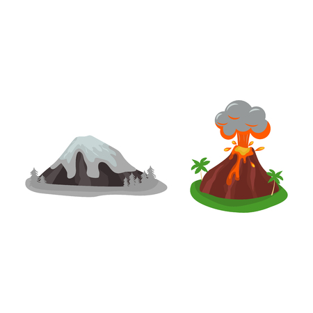 Volcano set vector illustration. Illustration