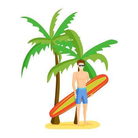 Surfing boy vector illustration