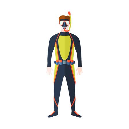 Scuba suit man vector illustration.